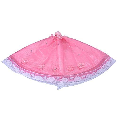 Edtara Precioso Vestido de Novia con Perlas Flor Rosa y Vestido de Princesa con Velo para Ropa de muñecas de 12'muñecas