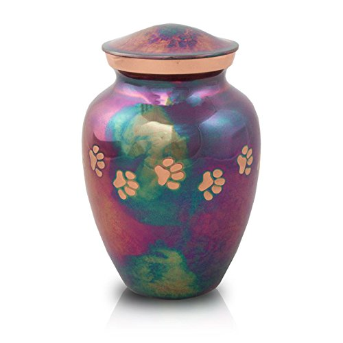 OneWorld Memorials Paw Print Bronze Cremation Urn for Cats and Dogs - Medium - Holds Up to 85 Cubic Inches of Ashes - Raku Blue Pet Cremation Urn for Ashes - Engraving Sold Separately by OneWorld Memorials (Image #1)
