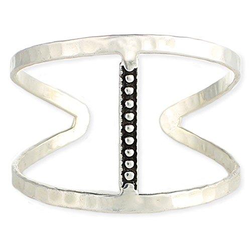 Sundance Beach Silver Hammered Bar Open Cuff Bracelet