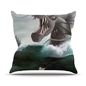 """Kess InHouse Sophy Tuttle """"Vessel"""" Green Blue Outdoor Throw Pillow, 16 by 16-Inch"""