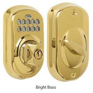 (BE365-PLY Schlage Keypad Deadbolt - Bright Brass)