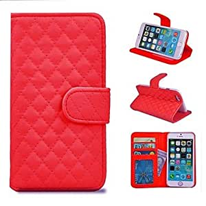 JJE Lamp Grid Pattern PU Leather Full Body Case with Stand and Card Slot for iPhone 6(Assorted Colors) , Black