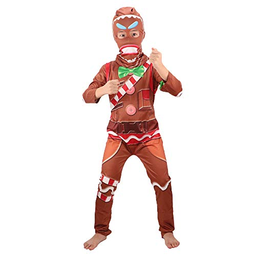Children's Gingerbread Jumpsuit Kids' Cosplay Costume with Mask for Party Halloween Christmas(L) Brown]()