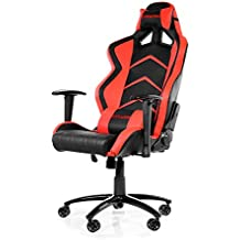 AKRacing Racing Style Desk Office Gaming Chair with High Backrest, Recliner, Swivel, Tilt, Rocker and Seat Height Adjustment Mechanisms. PU Leather (Red)