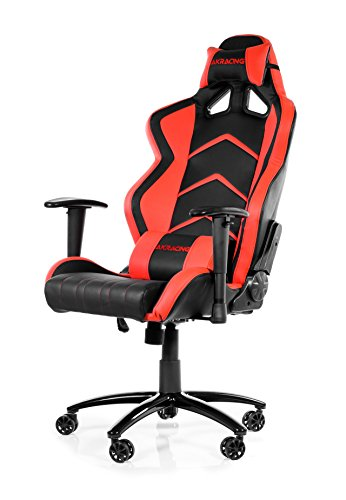 (AKRacing Racing Style Desk Office Gaming Chair with High Backrest, Recliner, Swivel, Tilt, Rocker and Seat Height Adjustment Mechanisms. PU Leather (Red))