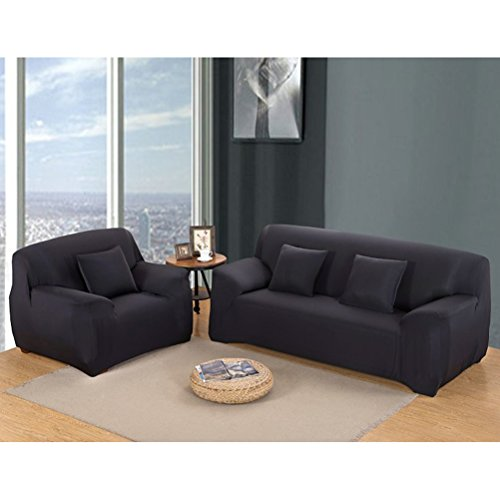 WINOMO Armchair Slipcover Polyester t-cushion Chair Slipcover One-seat sofa cover (Black) by WINOMO (Image #5)