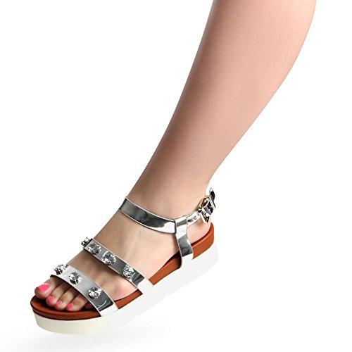 topschuhe24 - Sandalias de vestir para mujer Plateado - plateado