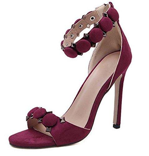 HETAO Persönlichkeit Frauen Dicke Fersen Sandalen Mode Offene Zehe Rote Blumen Strappy High Heel Sommer Schuhe Geschenk Des Mädchens Red