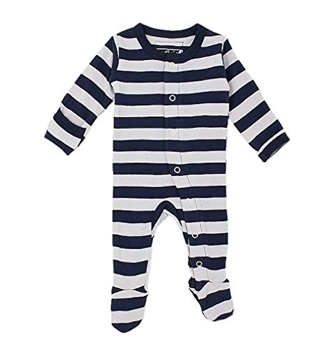 - L'ovedbaby Unisex-Baby Organic Cotton Footed Overall (0-3 Months, Navy/Light Gray Stripe)