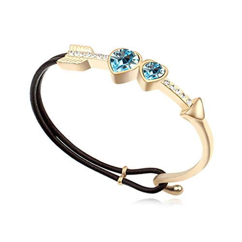 Beydodo Gold Plated Bracelet For Women (Chain-Bracelets),Austria Crystal Love Heart Sea Blue CZ 5.8X4.8CM