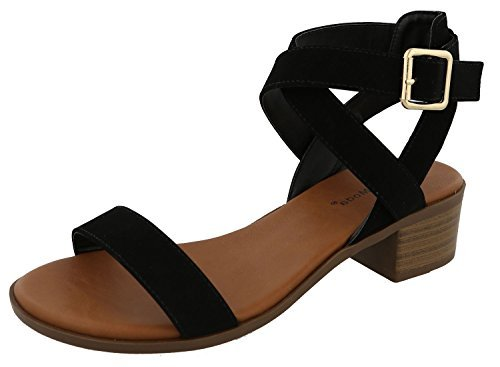 (TOP Moda Women's Vision-75 Ankle Strap Open Toe Heeled Sandal, Black, Size 8.0)