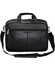 """Kenneth Cole Reaction """"The I Rest My Case"""" Leather Top Zipper Laptop Computer Briefcase Business Bag - Black"""