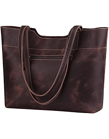 f2df641e1 S-ZONE Vintage Genuine Crazy Horse Leather Large Tote Shoulder Bag Purse  with Back Zipper