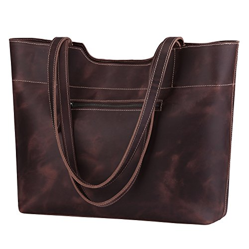 S-ZONE Vintage Genuine Crazy Horse Leather Tote Shoulder Bag Purse with Back Zipper Pocket (Dark Brown) (Tote Leather Retro)