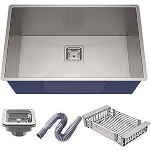 10x Luxury Kitchen Sink, 1.2 mm Thickness, 24×18 x9-Inch (Silver)