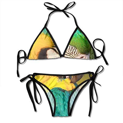 - Women Bikini Set Yellow Green Parrot Printing Thong Bottom Adjustable Strap