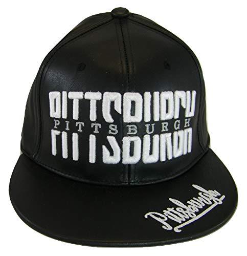 Pittsburgh PU Leather Window Shade Font Adjustable Snapback Baseball Cap (Black)