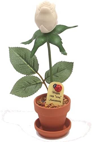 14th Year Wedding Anniversary Gift, Potted Artificial Ivory Desk Rose, Perfect Present for Wife or Husband