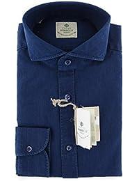 New Borrelli Navy Blue Solid Extra Slim Shirt
