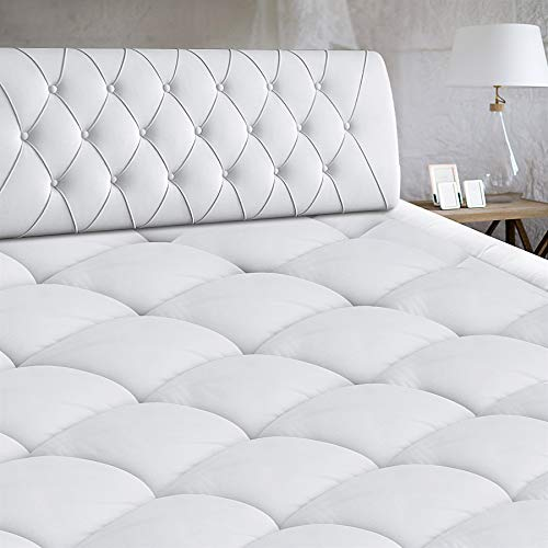 Mattress Pad Cover Cooling Mattress Topper Cotton Pillow Top with Down Alternative Fill