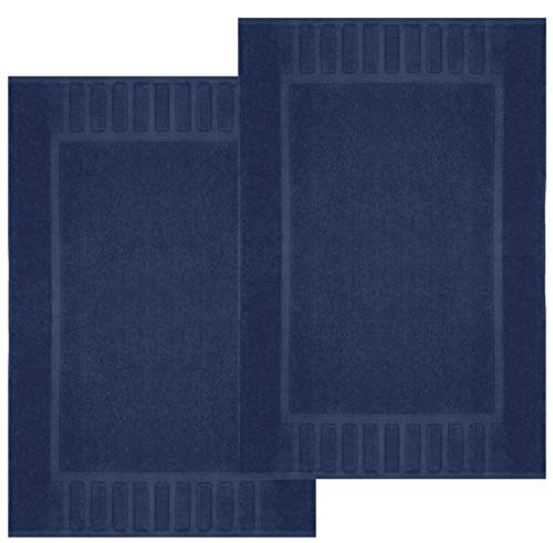 White Classic Luxury Bath Mat Floor Towel Set – Absorbent Cotton Hotel Spa Shower/Bathtub Mats [Not a Bathroom Rug] 22″x34″   2 Pack   Navy Blue