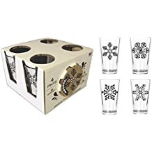 Corkology.com 442-1 Snowflakes Pint Pack with Matching Coaster Set, Clear