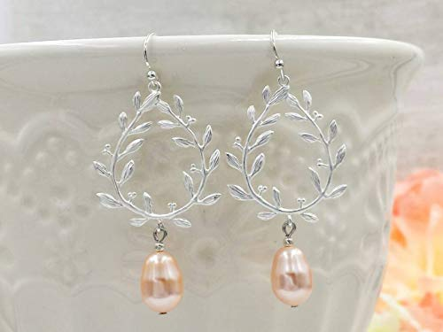 Silver Laurel Wreath Earrings Peach Swarovski Simulated Pearl - Swarovski Wreath