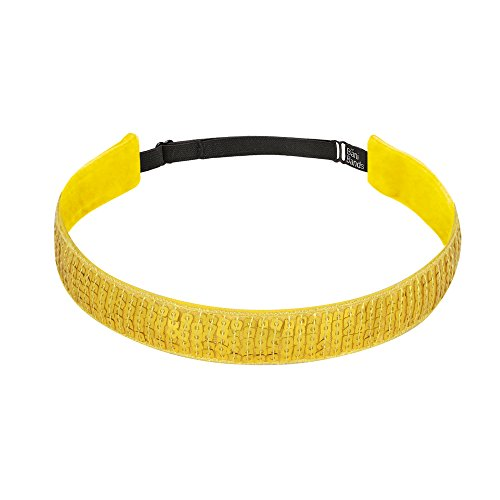 Bani Bands Girls Workout Sports Headbands | Sequin for Dance Jazz Cheer Volleyball Tennis Gymnastics | Colors to Match Costumes Uniforms Outfits | for Youth Teens Girls Women | Non-Slip | Yellow ()