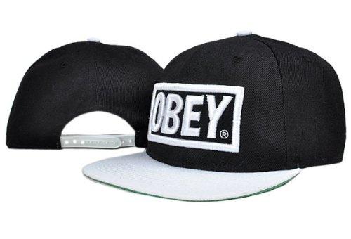 369e6210ba34 Obey Snapback Cap Schwarz Weiß  Amazon.de  Bekleidung