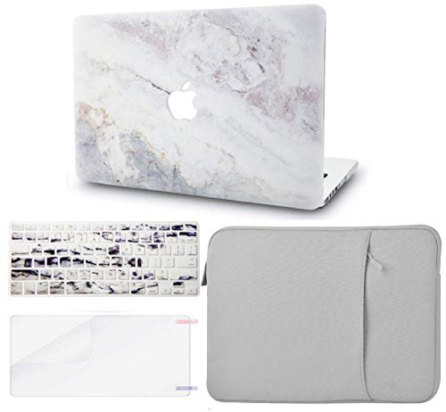 """KECC Laptop Case for Old MacBook Pro 13"""" Retina (2015-) w/Keyboard Cover + Sleeve + Screen Protector (4 in 1 Bundle) Plastic Hard Shell Case A1502/A1425 (White Marble 2)"""