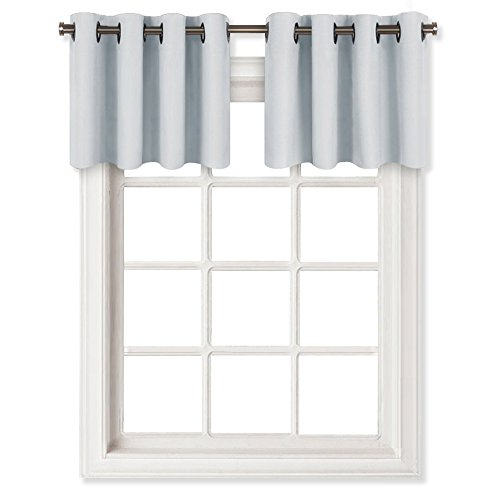 NICETOWN Grayish White Window Curtain Panel - Functional Thermal Insulated Eyelet Top Room Darkening Curtain Panel - One Piece Valance - W52 x L18 -inch - Platinum(Greyish White) -