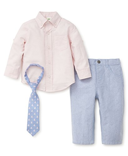 Little Me Baby Boys' Woven Pant Shirt and Tie Set, Pink Oxford, 2T