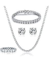 18K White Gold Plated Tennis Necklace/Bracelet/Earrings/Band Ring Sets Hypoallergenic Jewelry Pack of 4