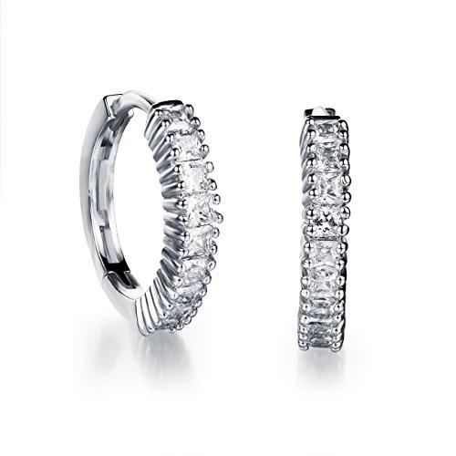 18K Gold Tone Titanium Steel Lucky Rhinestone Hoop Earrings for Women (Lucky Rhinestone Earrings)