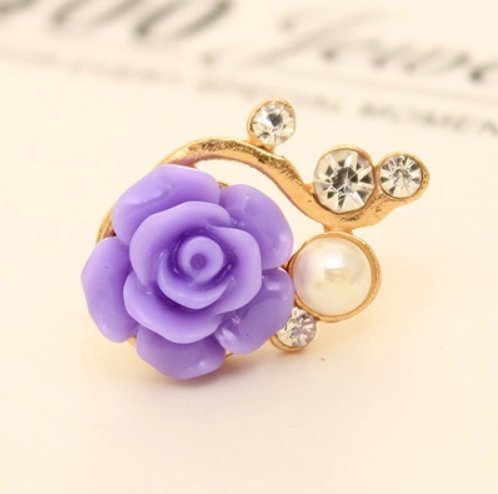 ZOEAST Crystal Pearl Pink Blue White Purple Rose Flower Dust Plug 3.5mm Phone Headphone Jack Earphone Cap Ear Cap Dust Plug Charm iPhone 4 4S 5 5S 6 6S Plus HTC Samsung iPad iPod etc (Purple)