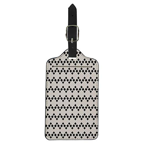Pinbeam Luggage Tag Abstract Geometric Rhombuses Simple Argyle Pattern Modern Monochrome Suitcase Baggage Label