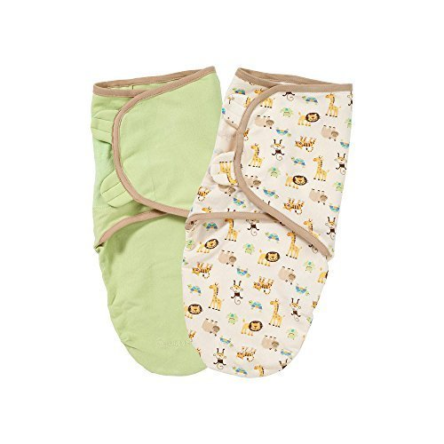 Summer Infant 2 Pack Organic Cotton Knit Swaddleme, Sage and - Zoo Sage