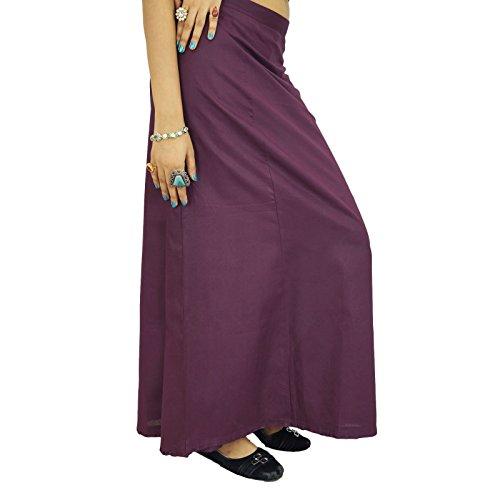 Sólido enaguas Bollywood Indian Women desgaste de los forros de algodón Para Sari ciruela