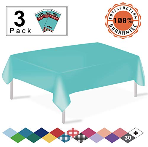 Aqua Plastic Tablecloths 3 Pack Disposable Table Covers 54 x 108 Inches Shower Party Tablecovers PEVA Vinyl Table Cloths for Rectangle Tables up to 8 ft and Picnic BBQ Birthday Wedding Banquet