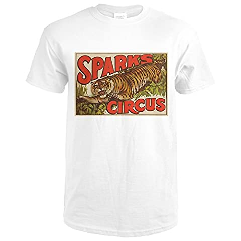 Sparks Circus (tiger) Vintage Poster USA (Premium White T-Shirt Large) - Sparks Circus
