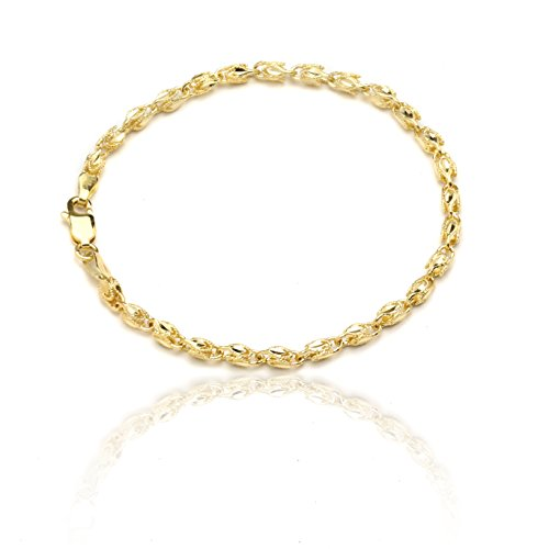 Floreo 7 Inch 10k Yellow Gold Turkish Rope Chain Bracelet and Anklet for Women and Men,(3.5mm)