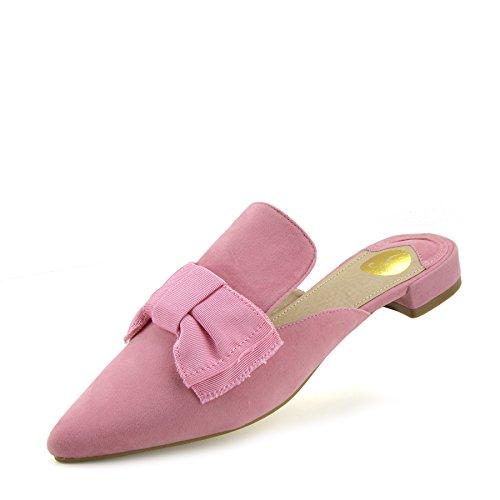 Femmes Rose Occasionnelle Chaussures Plat Pointues Pantoufles Mules Kick Footwear Velours H14zH5W