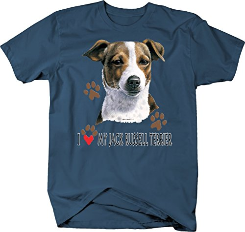 (I Love My Jack Russell Terrier Dog with Paw Prints Custom Tshirt - Large)