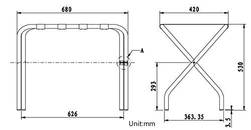 LUXEHOME Plegable de Acero galvanizado con portaequipajes sin Espalda