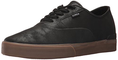 C1RCA Men's Kingsley Low Durable Cushioned Insole Skate Skateboarding Shoe, Black/Gum, 8.0 Medium US