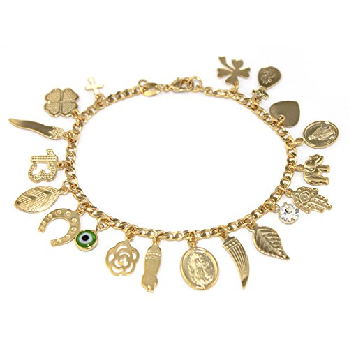 Fine Jewelry Paradise Gold Filled Anklet Bracelet Lucky Charms 9.5 inches Length Evil Eye Protection and Good Luck Amulet Foot Ankle by Fine Jewelry Paradise (Image #3)