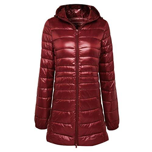 a1SCOJSOIs. Ladies Long Winter Warm Coat Women Ultra Light 90% White Duck Down Jacket Parka,Small,WineRed, - Prix Grand Coat Riding