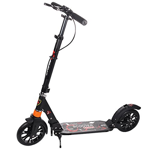 Goplus Folding Kick Scooter for Adult Teen Deluxe Aluminum 2 Big Rubber Wheels Glider Adjustable Height w/Dual Suspension, 220lbs Capacity (Big Soft Kick)