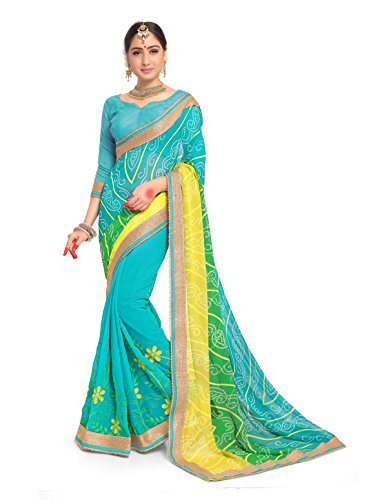 for Women Faux Georgette Embroidered Saree l Indian Wedding Ethnic Sari & Blouse Piece (Teal) ()