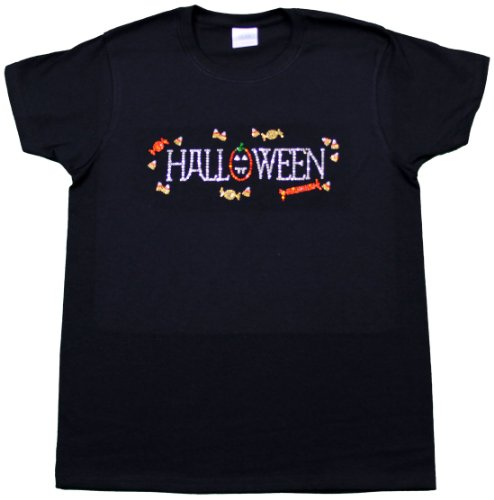 A+ Images, Inc. Halloween with Pumpkin and Candy Rhinestone T-Shirt - Black, XXX-Large (Pumpkin Cut Outs Halloween)